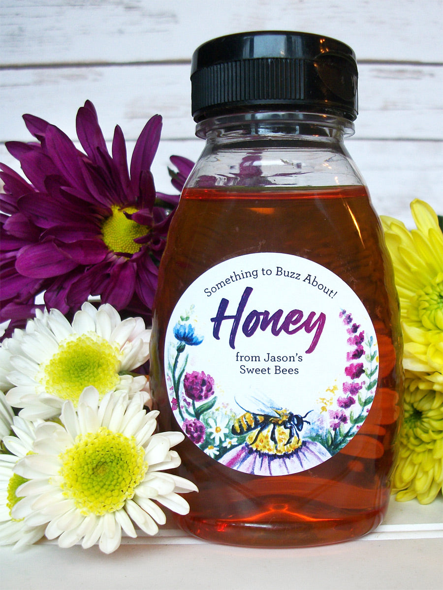 Custom Watercolor Wildflower Honey Labels | CanningCrafts.com