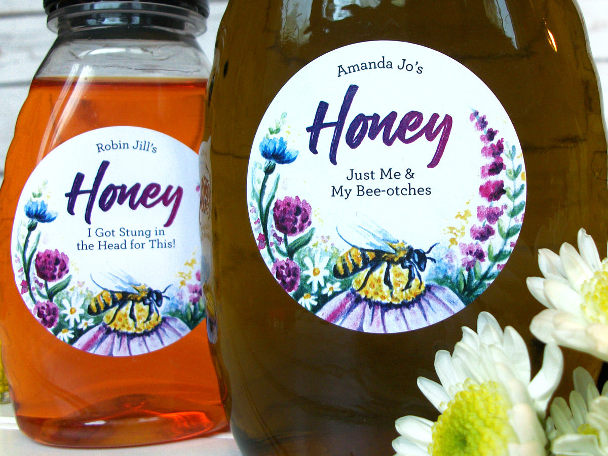 Custom Watercolor Wildflower Honey Bottle Labels | CanningCrafts.com