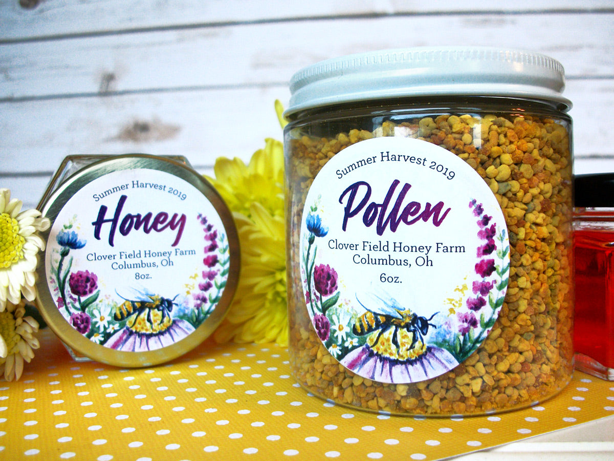 Custom Watercolor Wildflower Honey & Pollen Labels | CanningCrafts.com