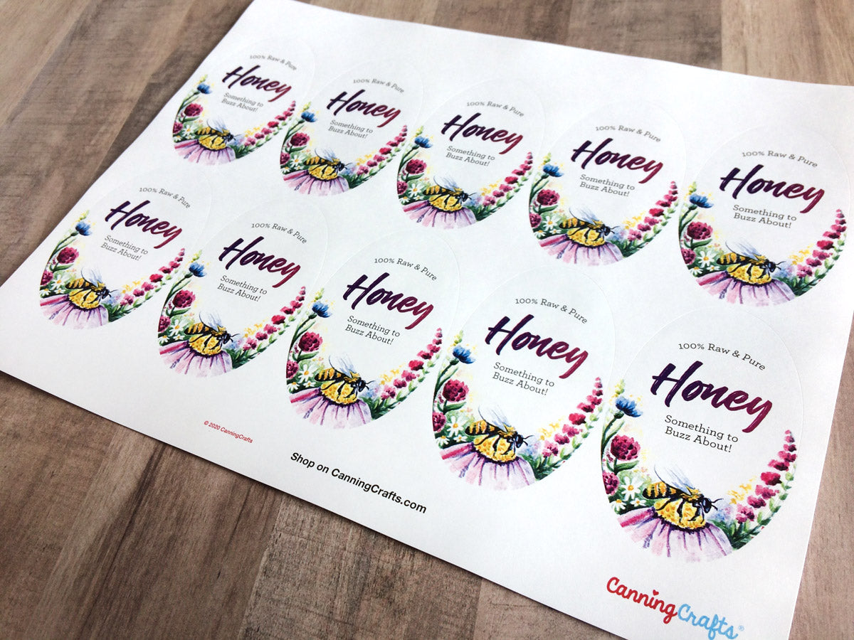 Custom Watercolor Wildflower Large Oval Honey Labels | CanningCrafts.com