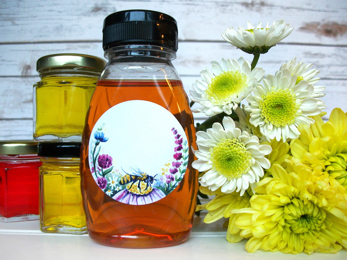 Watercolor Wildflower Honey Bottle Labels | CanningCrafts.com