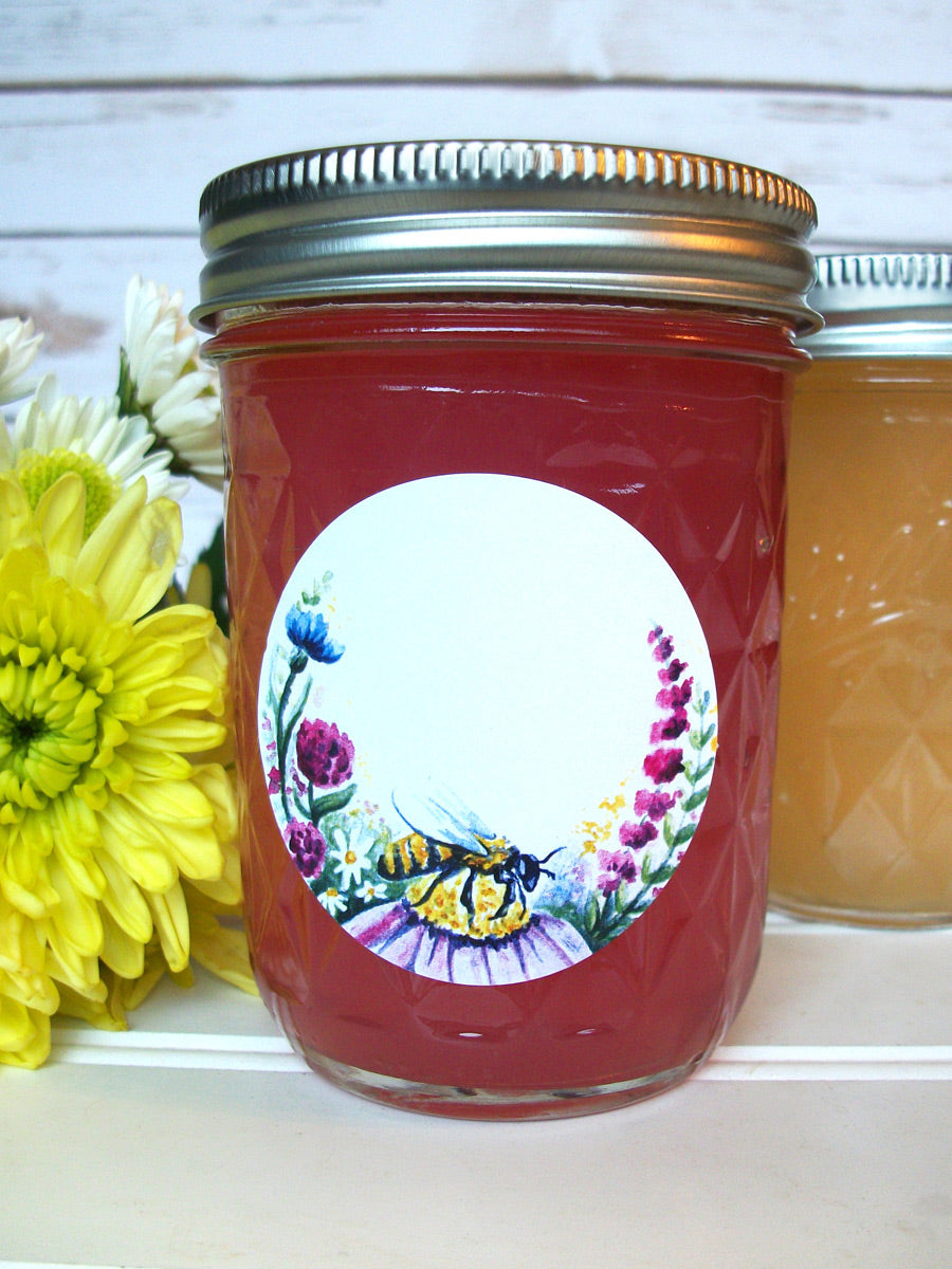 Watercolor Wildflower Honey Bottle & Jam Jar Labels | CanningCrafts.com