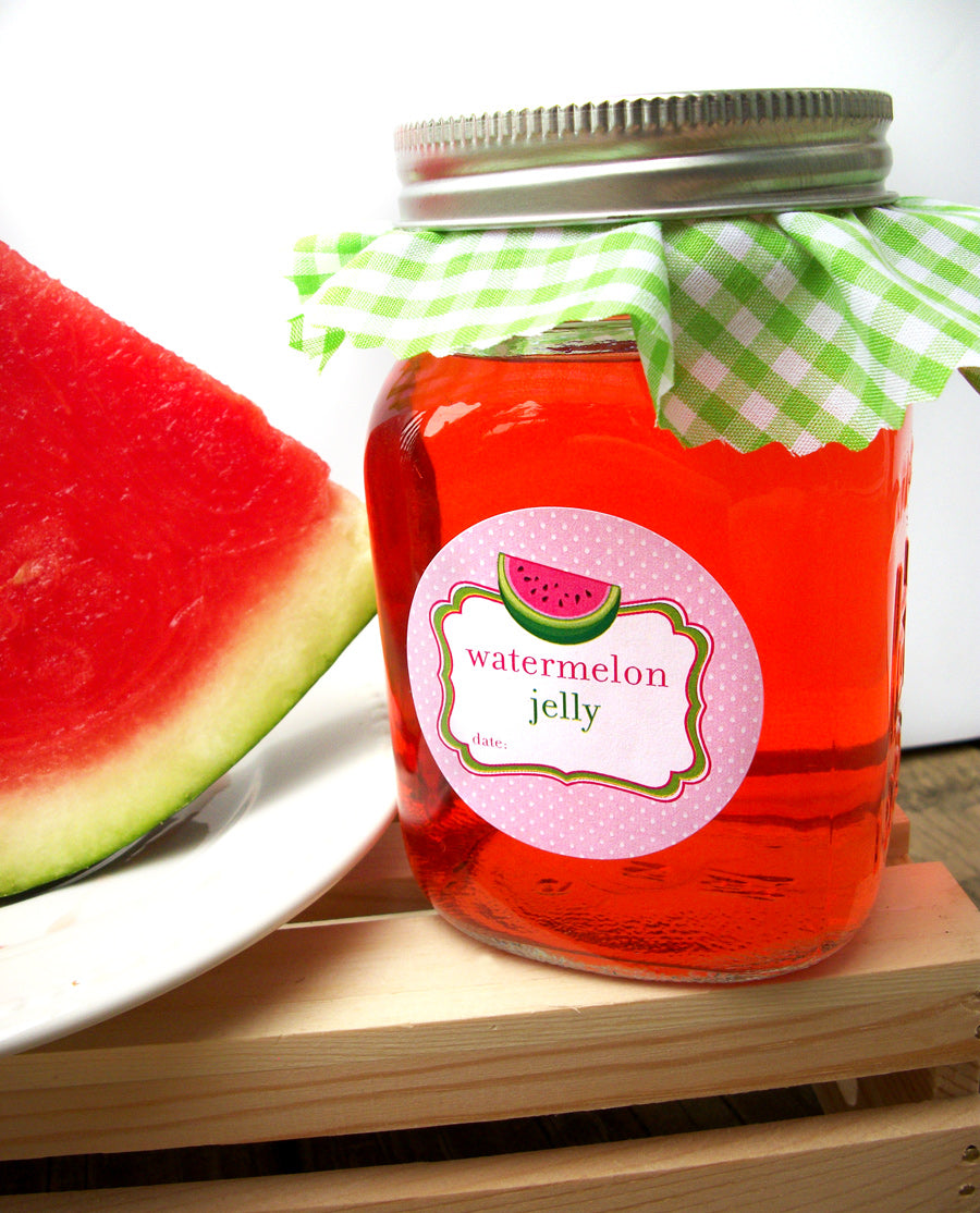 Watermelon Jelly Mason Canning Jar Labels | CanningCrafts.com