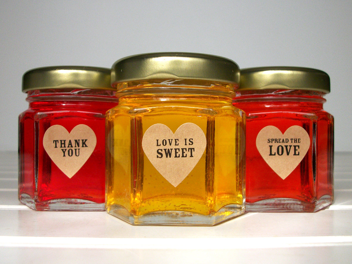 Kraft Wedding Spread the Love Jam Jar Heart Labels | CanningCrafts.com