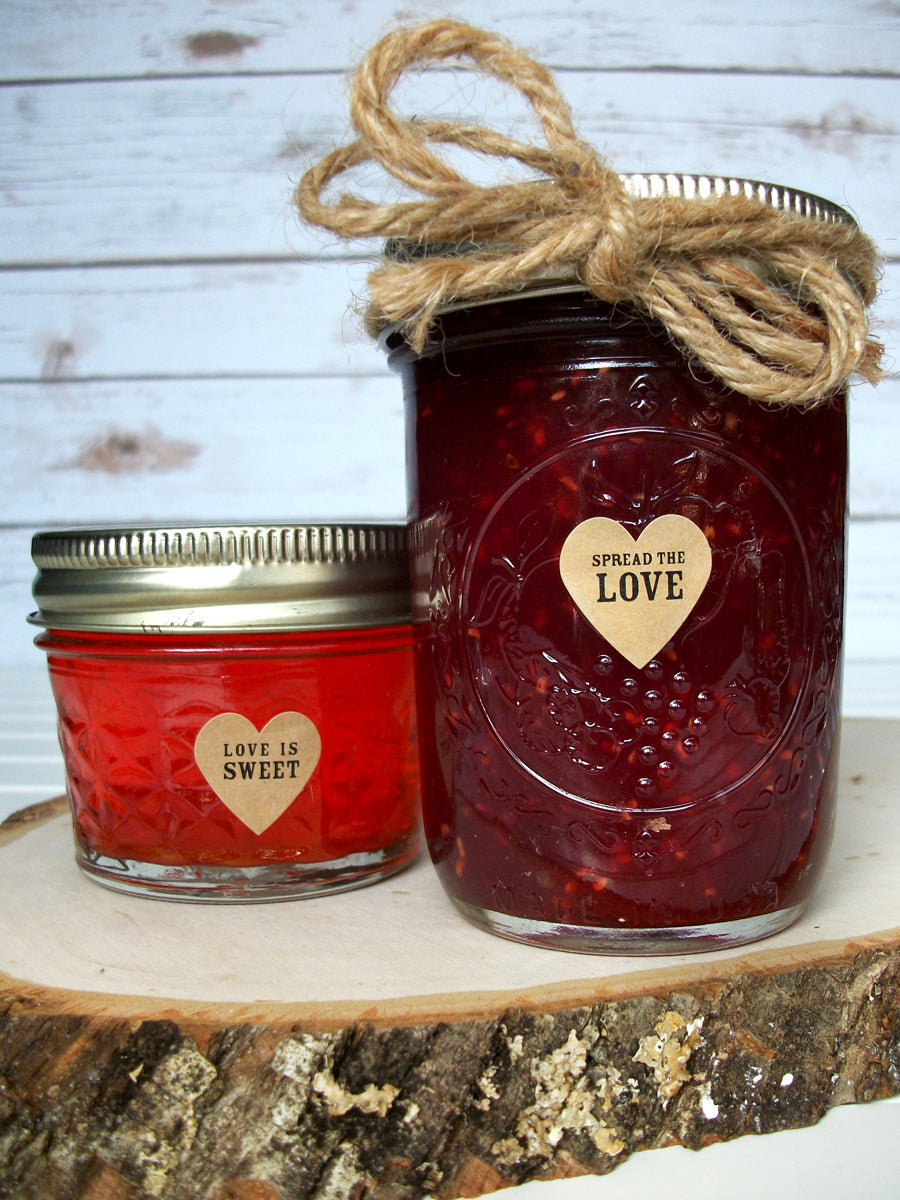 Kraft Wedding Jam Jar Heart Favor Labels | CanningCrafts.com
