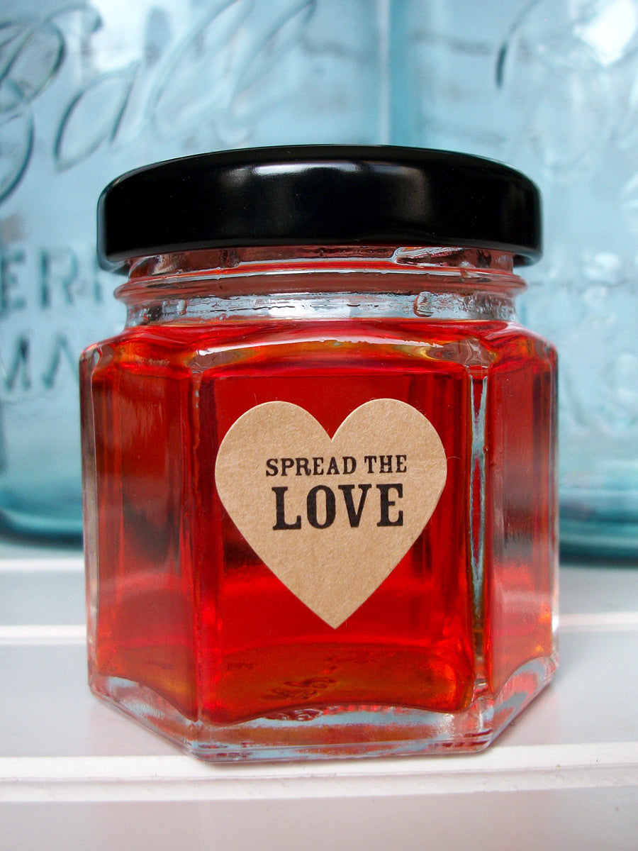 Kraft Wedding Spread the Love Jam Jar Heart Favor Labels | CanningCrafts.com