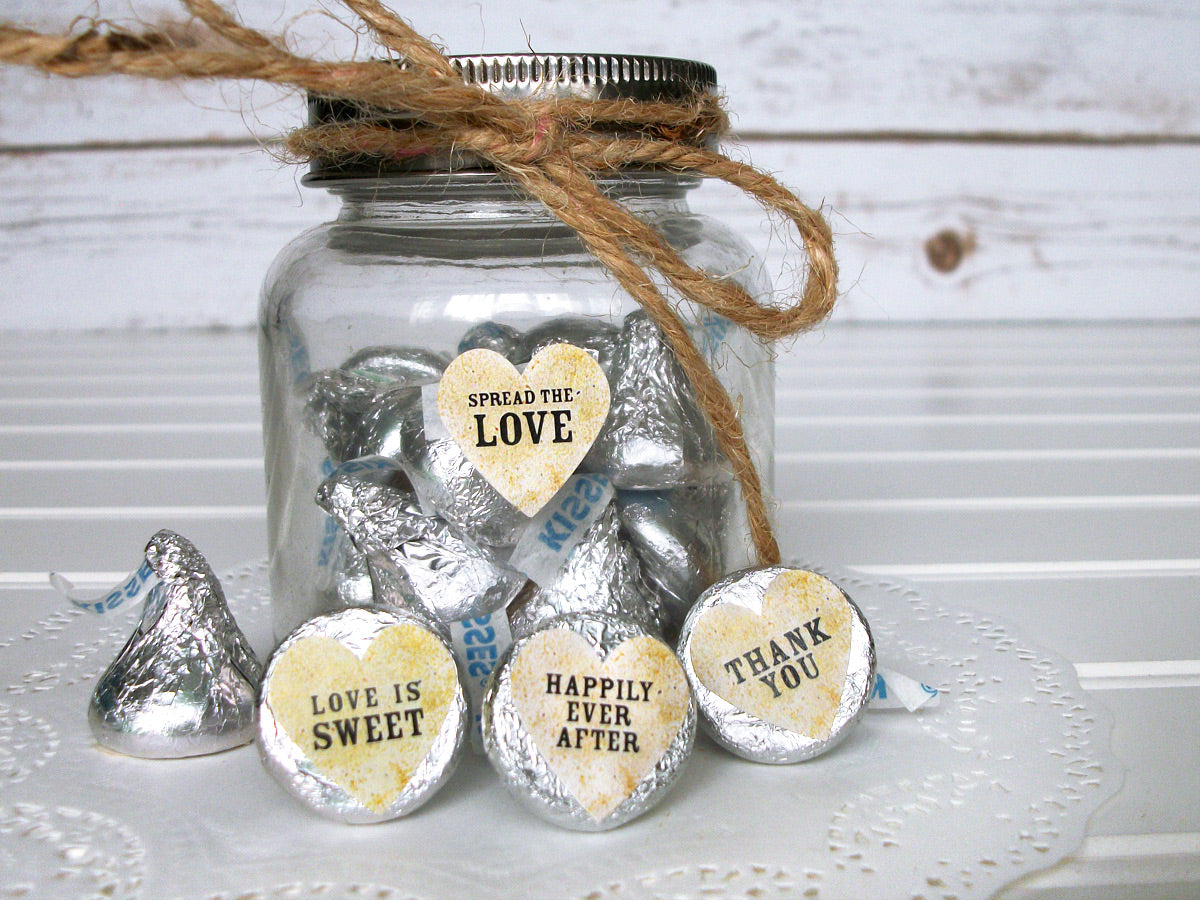 Vintage Hershey Kiss Wedding Heart Favor Labels | CanningCrafts.com
