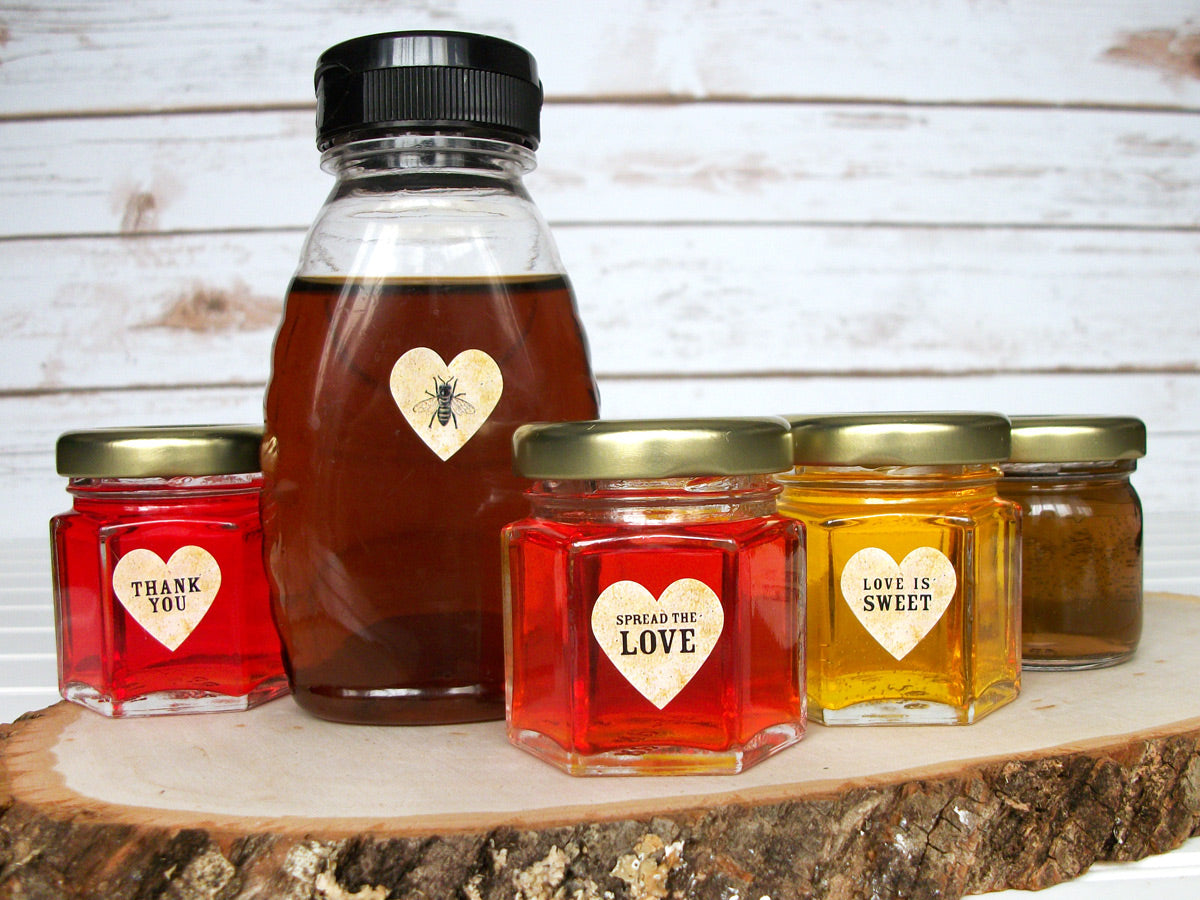 Vintage Wedding Heart Jam Jar Favor Labels | CanningCrafts.com
