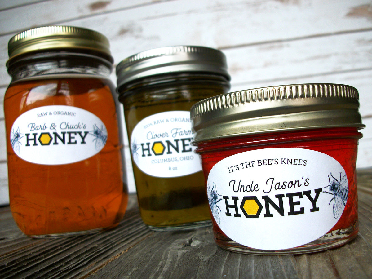 Custom Honeycomb Oval Honey Jar Labels | CanningCrafts.com