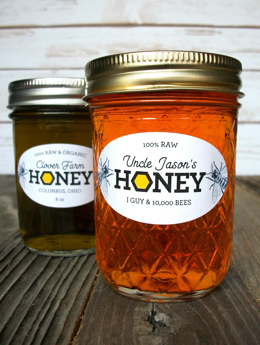 Custom Honeycomb Oval Honey Labels fit quilted Ball jars | CanningCrafts.com
