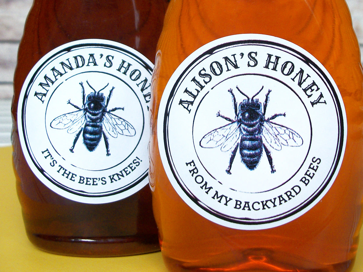 custom black & white seal honey labels | CanningCrafts.com