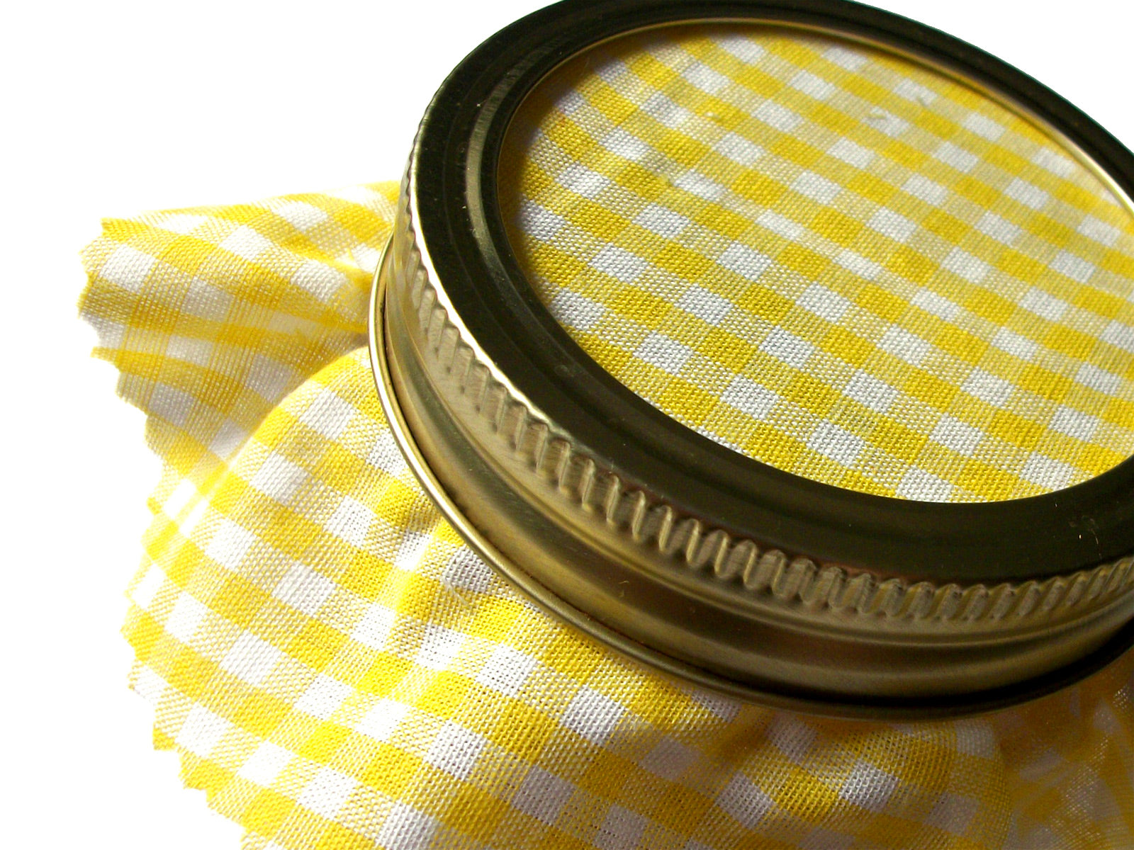 12 Yellow Gingham Jam Jar Covers