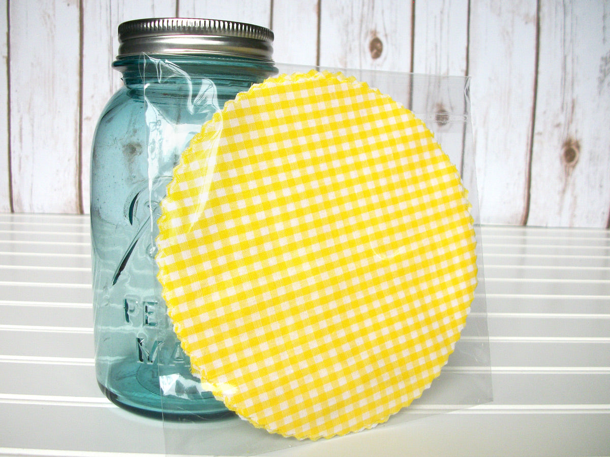 Yellow Gingham Jam Jar Covers | CanningCrafts.com