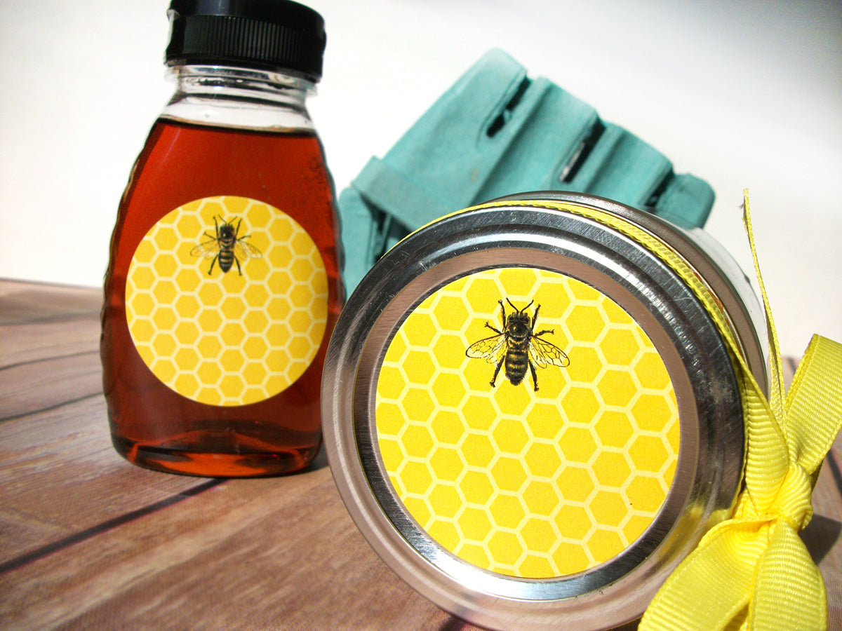 Yellow Honey Bee Bottle & Canning Jar Labels | CanningCrafts.com