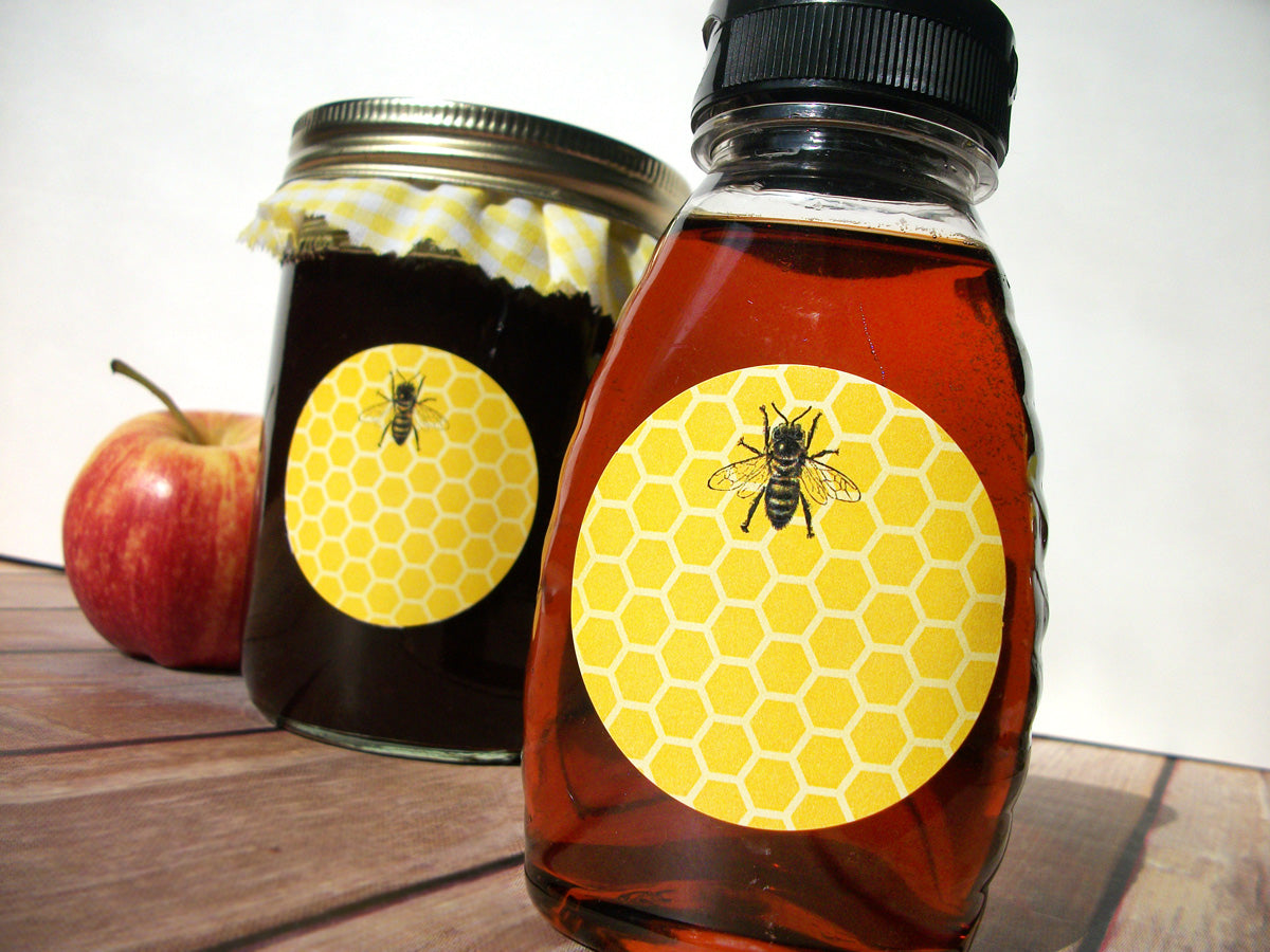 Yellow Honey Bee Canning & Bottle Labels | CanningCrafts.com