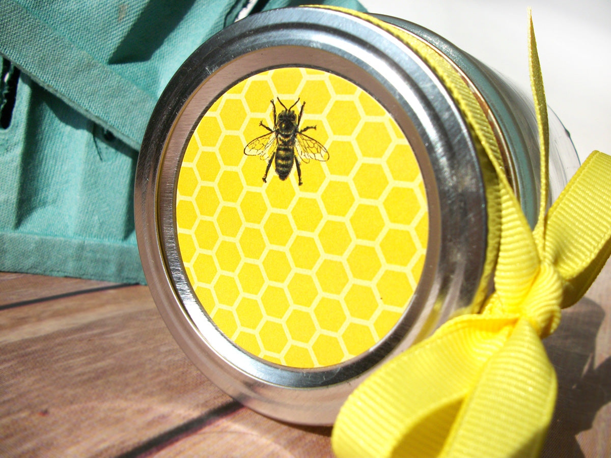 Yellow Honey Bee Canning Labels | CanningCrafts.com