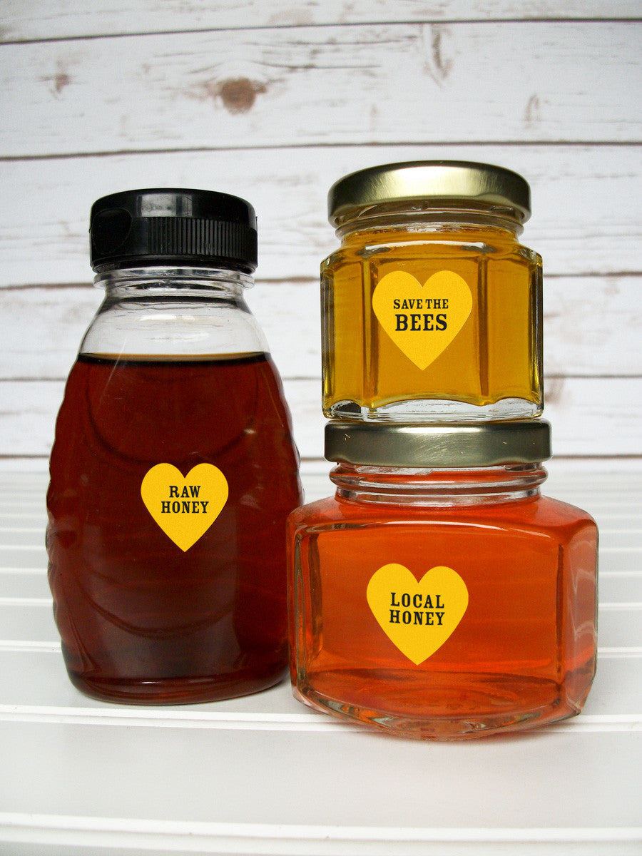 Yellow & black Save the Bees honey labels | CanningCrafts.com