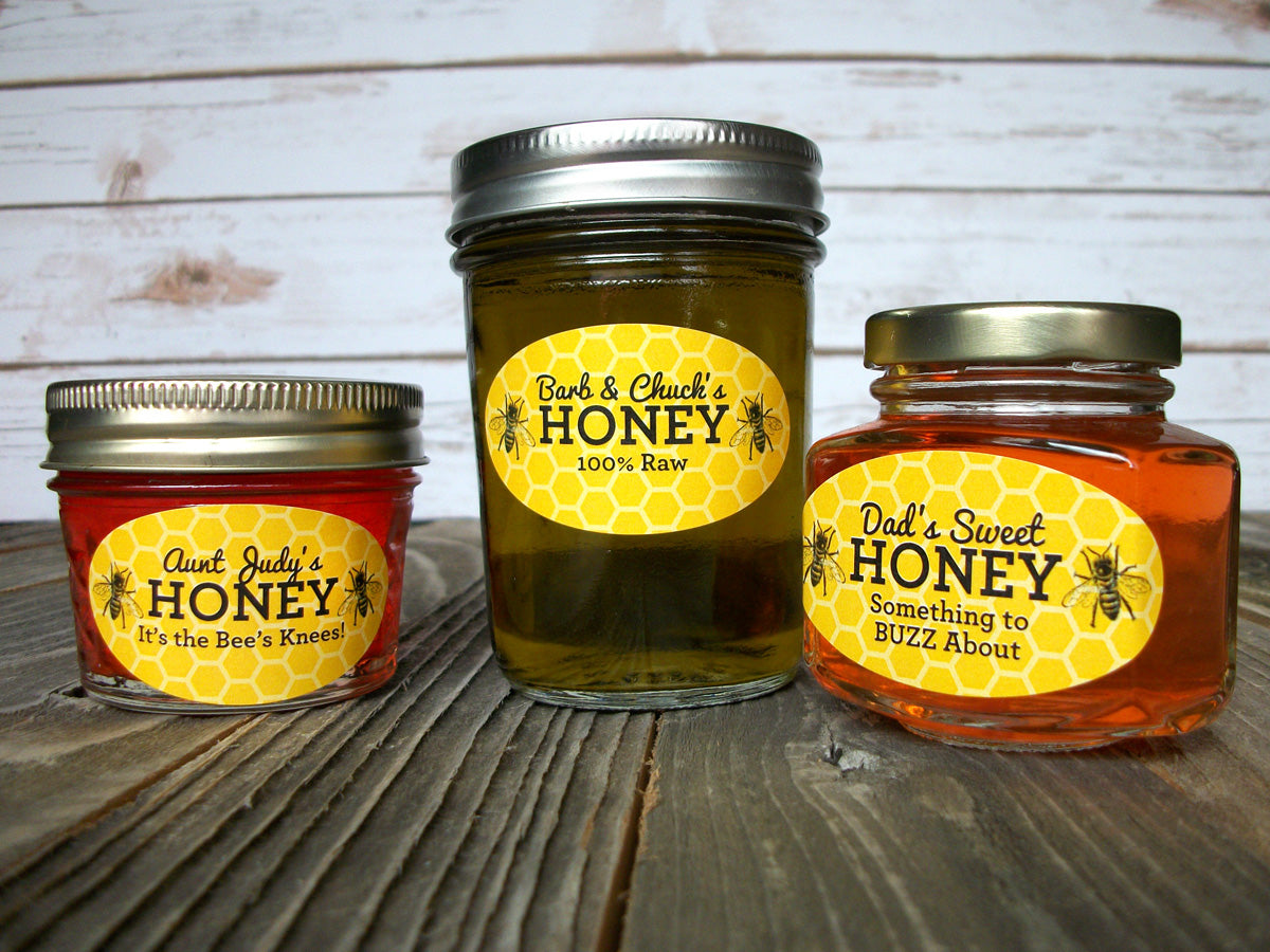 yellow & black honeycomb custom oval honey labels | CanningCrafts.com