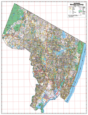 Bergen Co, Nj Wall Map - Large Laminated
