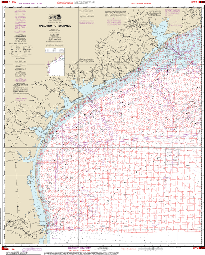 NOAA Nautical Chart 1117A: Galveston to Rio Grande (Oil and Gas Leasing Areas)
