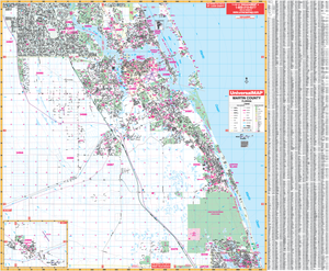 Martin Co Stuart , Fl Wall Map - Large Laminated