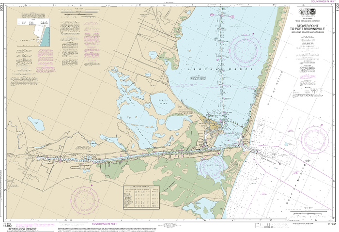 NOAA Nautical Chart 11302: Intracoastal Waterway Stover Point to Port Brownsville, including Brazos Santiago Pass