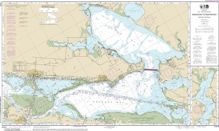 NOAA Nautical Chart 11314: Intracoastal Waterway Carlos Bay to Redfish Bay, including Copano Bay