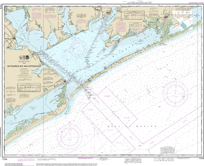 NOAA Nautical Chart 11316: Matagorda Bay and approaches