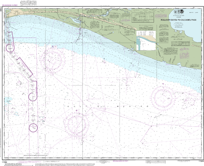 NOAA Nautical Chart 11344: Rollover Bayou to Calcasieu Pass