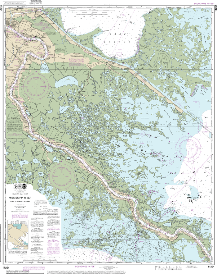 NOAA Nautical Chart 11364: Mississippi River-Venice to New Orleans