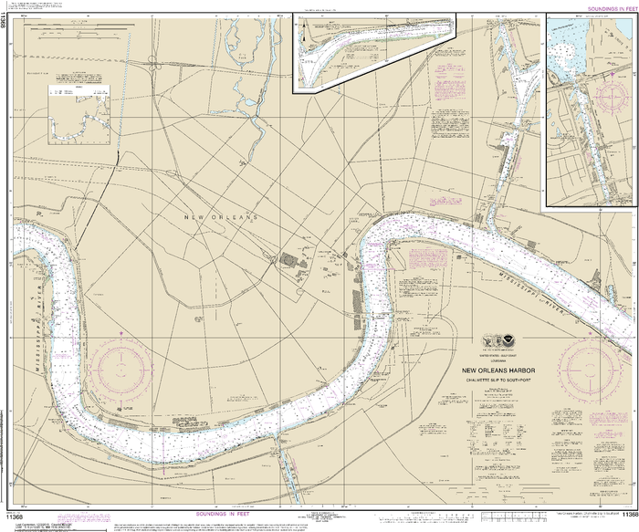 NOAA Nautical Chart 11368: New Orleans Harbor Chalmette Slip to Southport