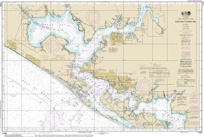 NOAA Nautical Chart 11390: Intracoastal Waterway East Bay to West Bay
