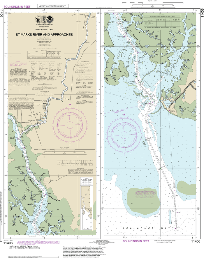 NOAA Nautical Chart 11406: St.Marks River and approaches