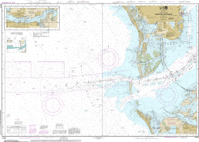 NOAA Nautical Chart 11415: Tampa Bay Entrance; Manatee River Extension