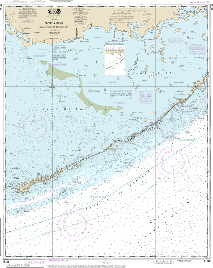 NOAA Nautical Chart 11452: Intracoastal Waterway Alligator Reef to Sombrero Key