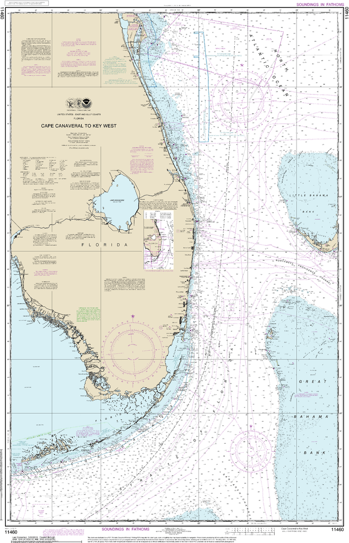 NOAA Nautical Chart 11460: Cape Canaveral to Key West