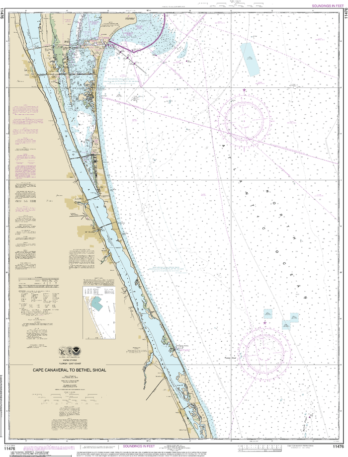 NOAA Nautical Chart 11476: Cape Canaveral to Bethel Shoal