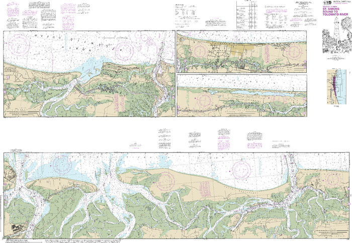NOAA Nautical Chart 11489: Intracoastal Waterway St. Simons Sound to Tolomato River