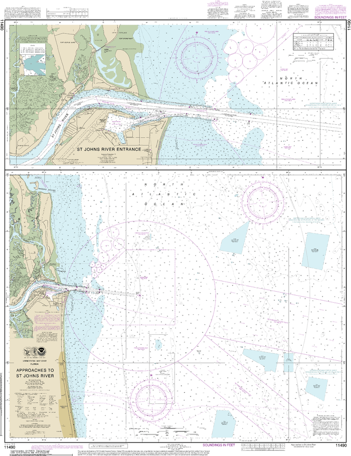 NOAA Nautical Chart 11490: Approaches to St. Johns River;St. Johns River Entrance