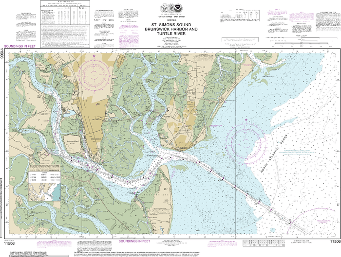 NOAA Nautical Chart 11506: St. Simons Sound, Brunswick Harbor and Turtle River