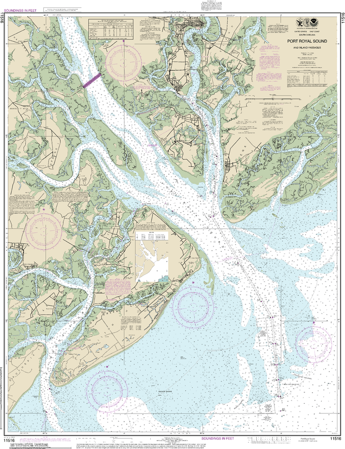 NOAA Nautical Chart 11516: Port Royal Sound and Inland Passages