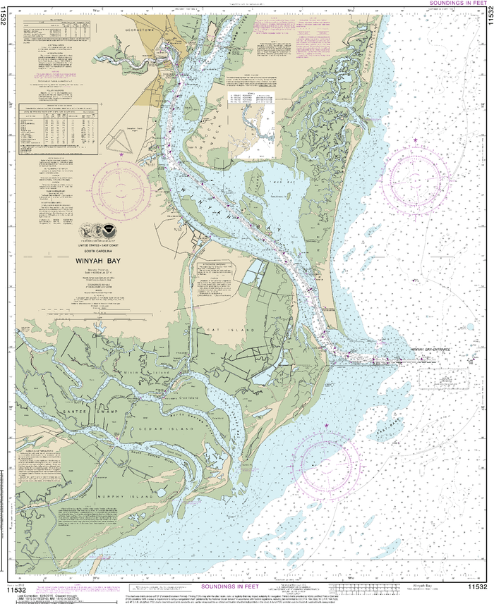 NOAA Nautical Chart 11532: Winyah Bay