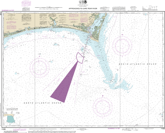 NOAA Nautical Chart 11536: Approaches to Cape Fear River