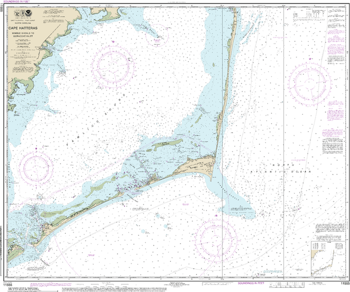 NOAA Nautical Chart 11555: Cape Hatteras-Wimble Shoals to Ocracoke Inlet