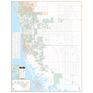 Naples Collier Co, Fl Wall Map - Large Laminated