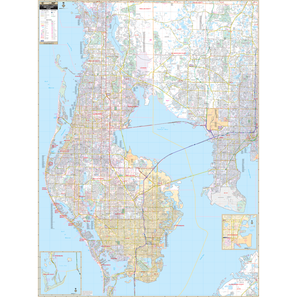 Pinellas County St Petersburg, FL Wall Map