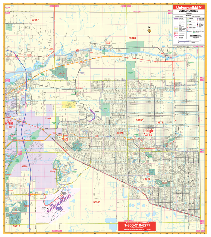 Lehigh Acres, FL Wall Map