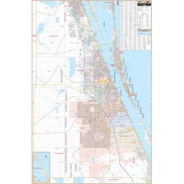 Brevard County South, FL Wall Map