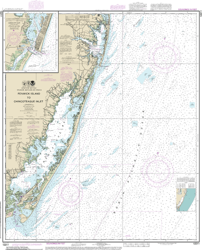 NOAA Nautical Chart 12211: Fenwick Island to Chincoteague Inlet;Ocean City Inlet