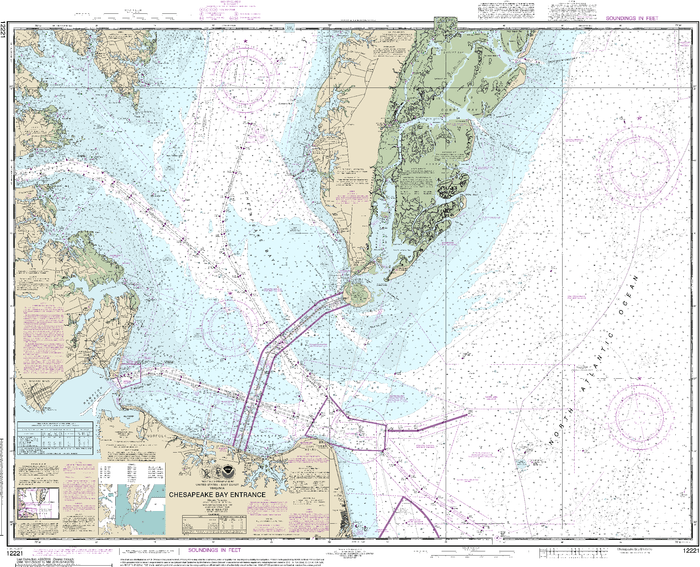 NOAA Nautical Chart 12221: Chesapeake Bay Entrance